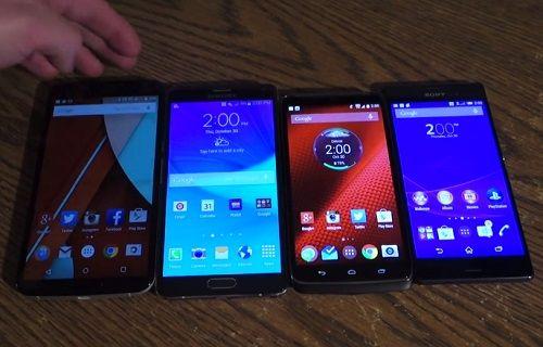 Nexus 6, Galaxy Note 4, Droid Turbo ve Xperia Z3 boyut karşılaştırması [video]